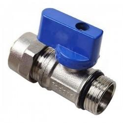 "Kugelhahn blau mit Klemmring 16mm 1/2""AG"