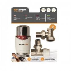 Set Thermostatkopf, Rücklaufverschraubung und Ventil Eckform weiß-chrom