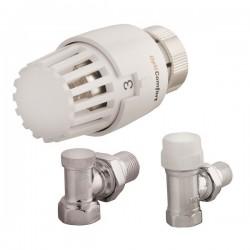 Set Thermostatkopf, Rücklaufverschraubung und Ventil Eckform weiß INV