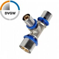 Pressfitting T-Stück reduziert 26x20x16 für PEX Verbundrohr, TH Profil DVGW